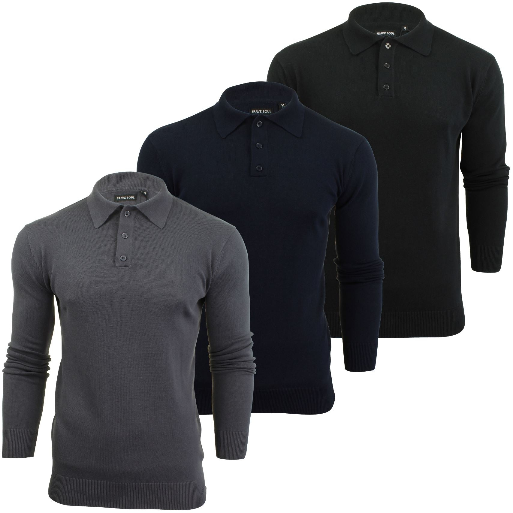 Mens Knitted Polo Shirt by Brave Soul Long Sleeved-Main Image