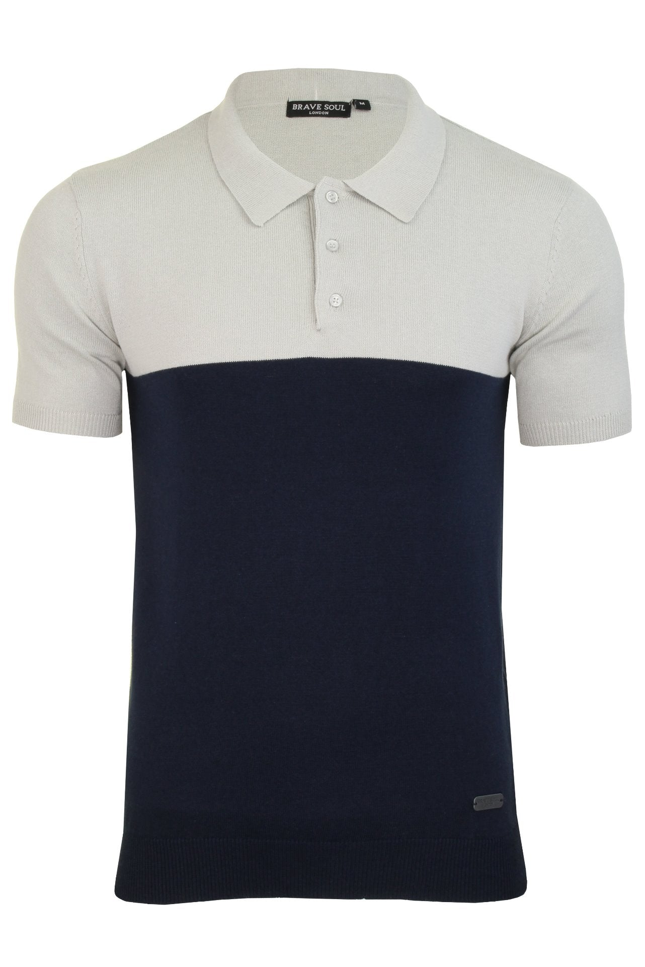 Mens Brave Soul 'Discover' Knitted Polo Shirt-Main Image