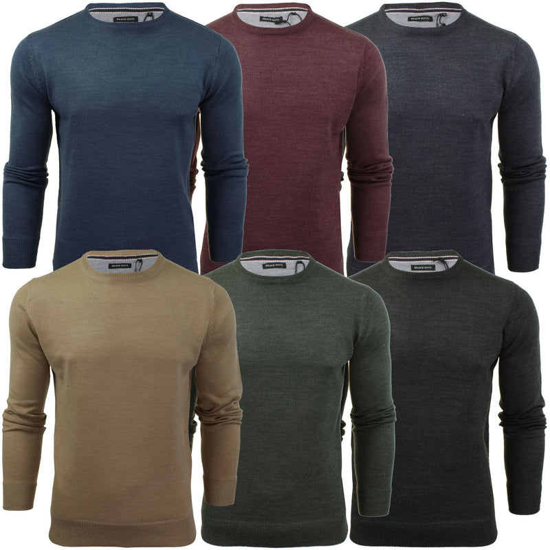 Brave Soul Mens Jumper Parse Fashion Crew Neck, 01, Mk-279Parse
