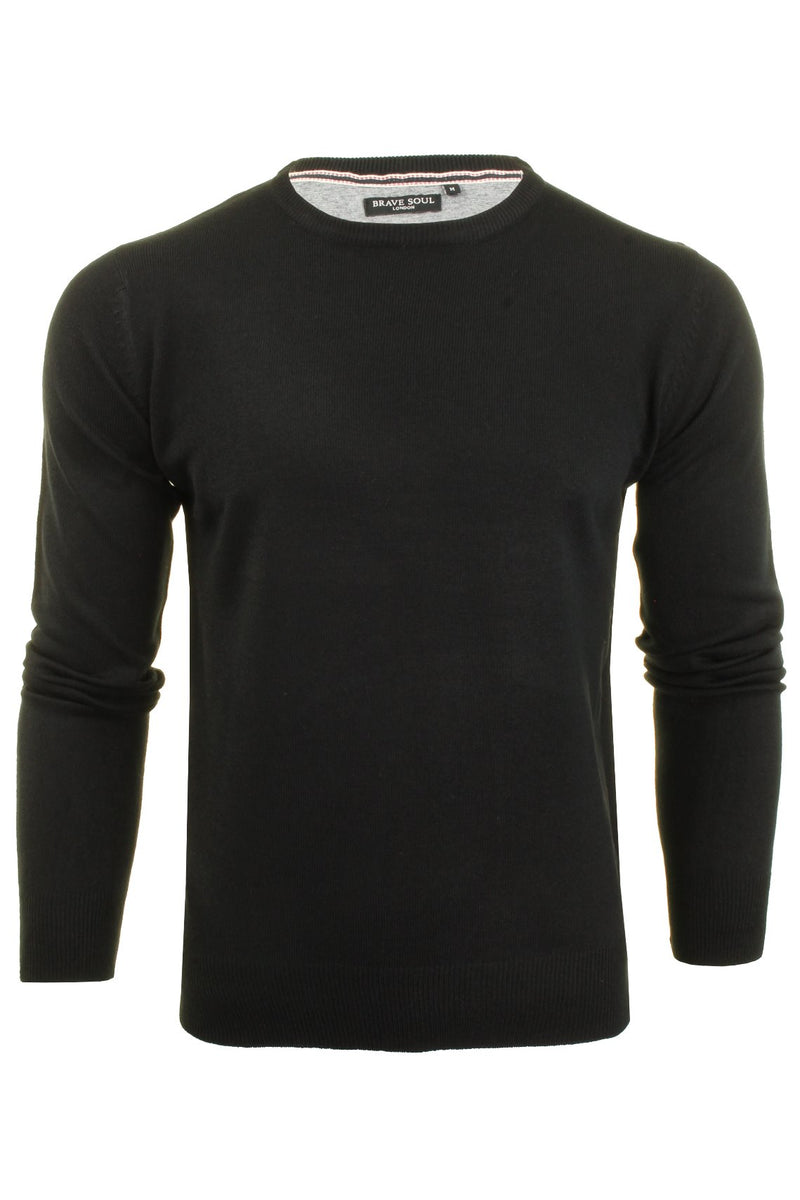 Brave Soul Mens Jumper Parse Fashion Crew Neck, 01, Mk-279Parse, #colour_Black - D