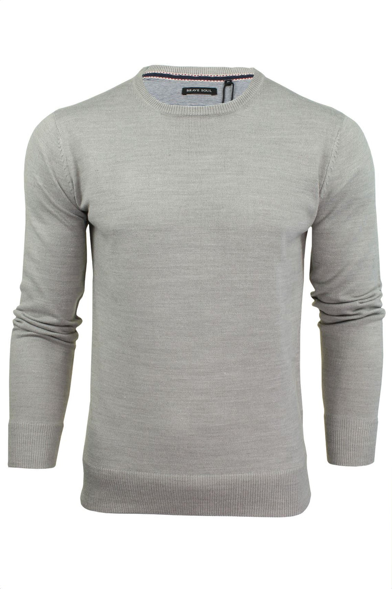 Brave Soul Mens Jumper Parse Fashion Crew Neck, 01, Mk-279Parse, #colour_Grey