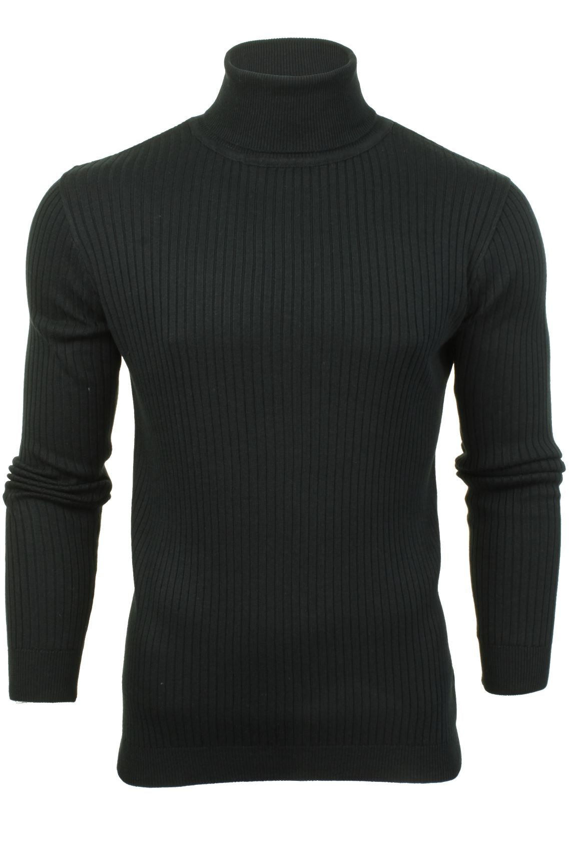 Mens Roll-Neck Jumper by Brave Soul 'Rally' All Over Rib-Main Image