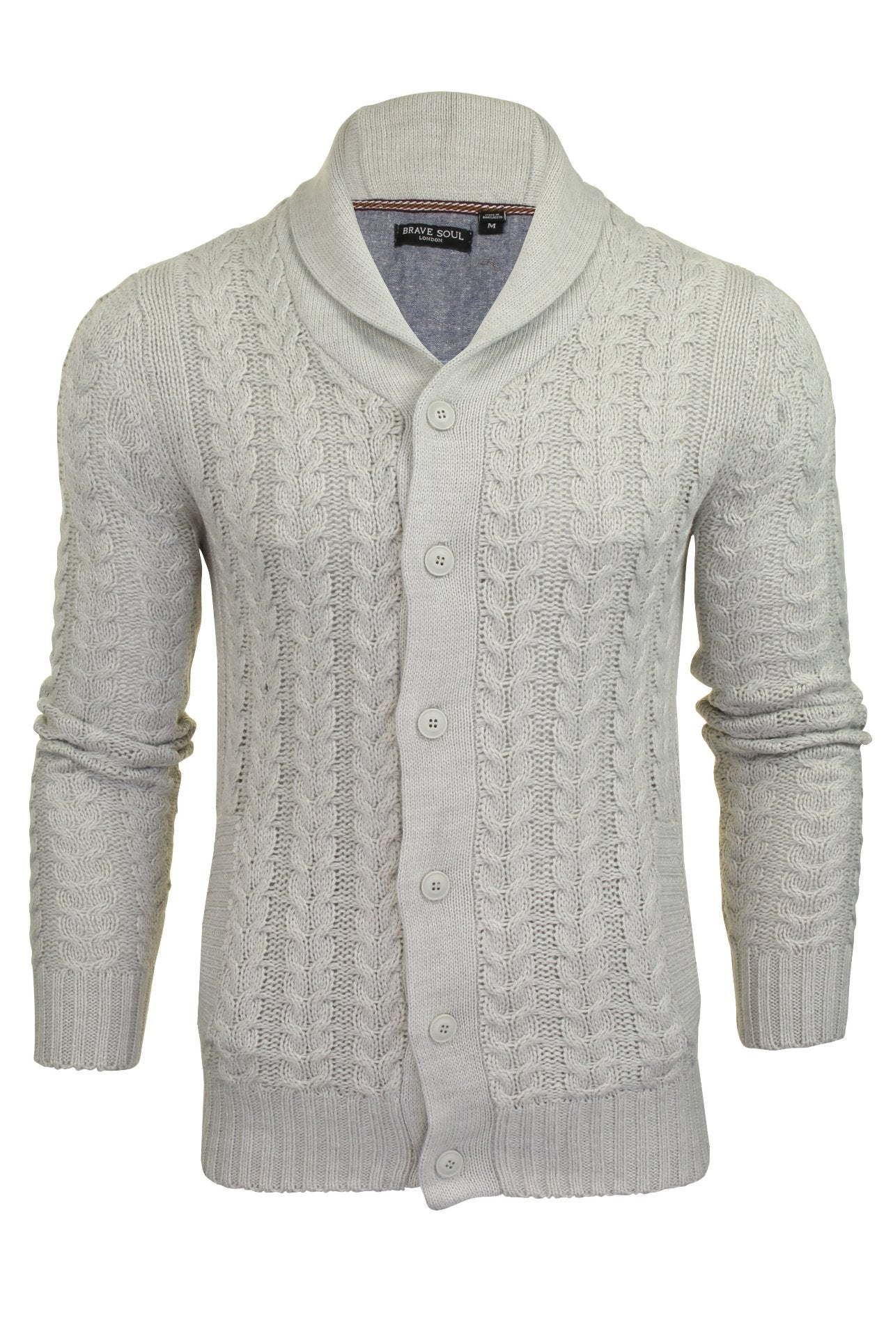 Brave Soul 'Schematic' Button Through Cardigan - All Over Knit Detail-Main Image