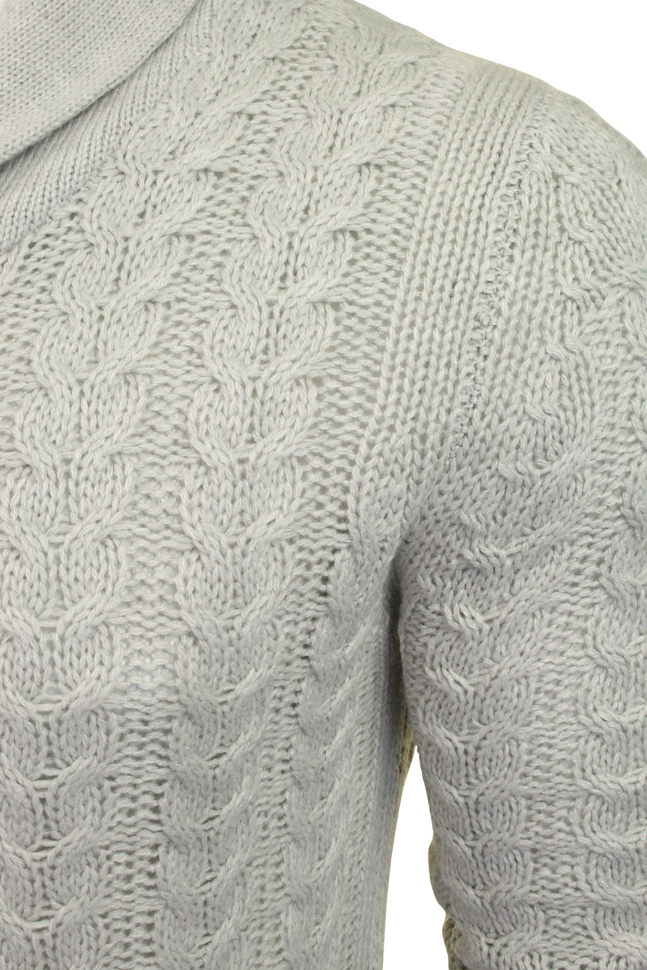 Brave Soul 'Schematic' Button Through Cardigan - All Over Knit Detail-2