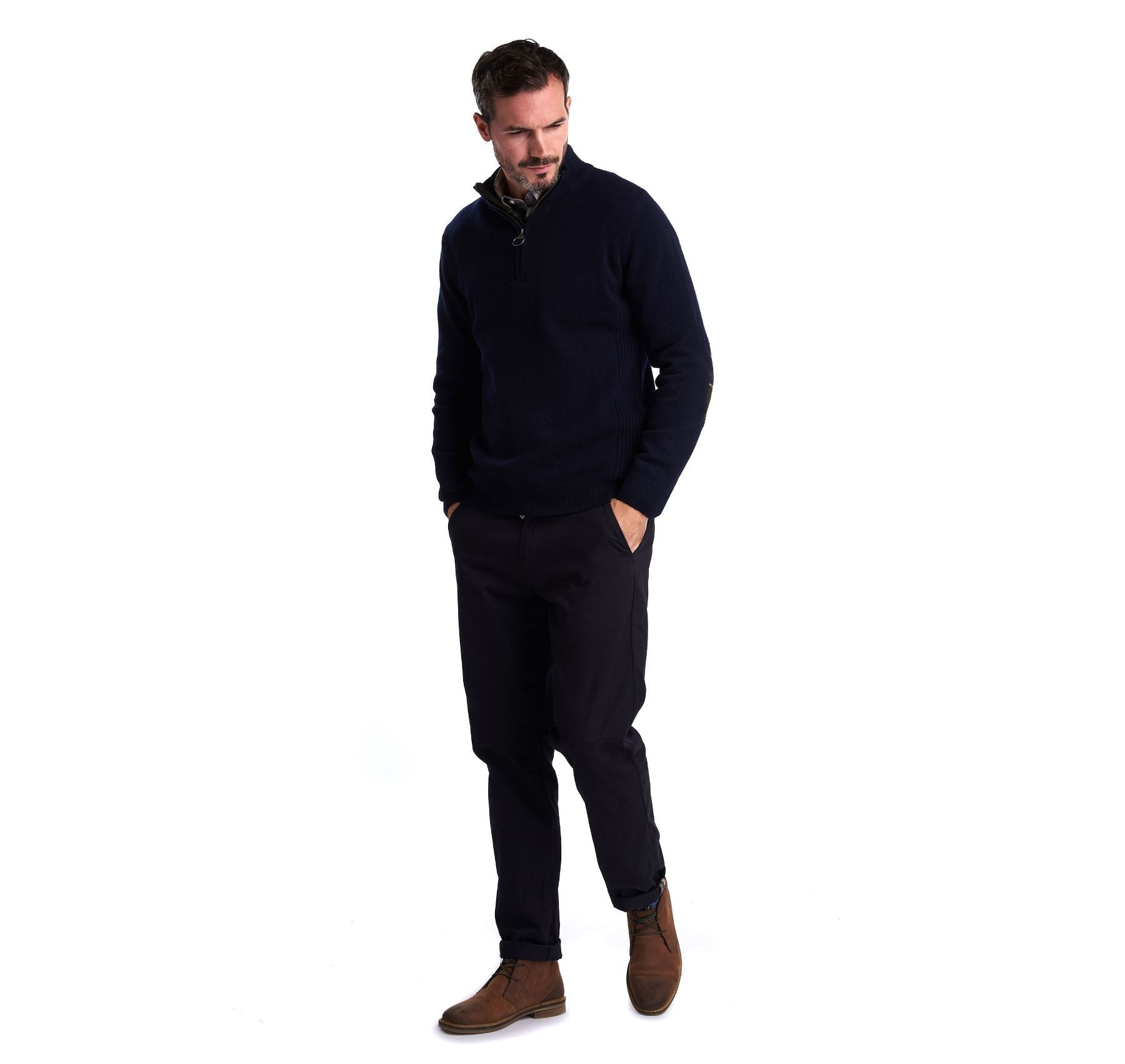 Barbour Men's Holden Half Zip Lambswool Jumper_06_Mkn0837_Navy