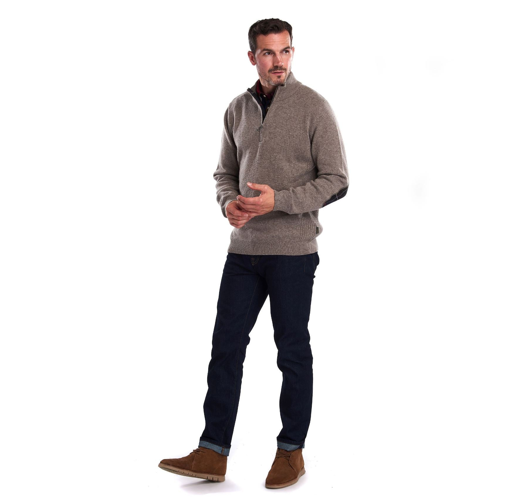 Barbour Men's Holden Half Zip Lambswool Jumper_05_Mkn0837_Military Marl