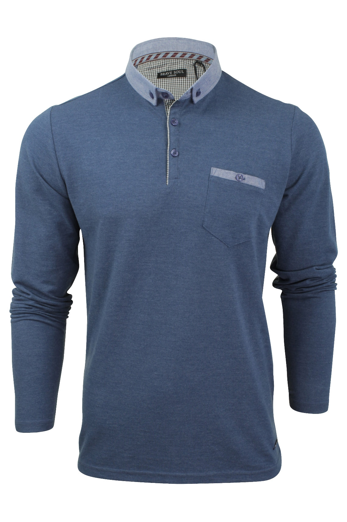 Mens Long Sleeve Polo Shirt by Brave Soul-Main Image