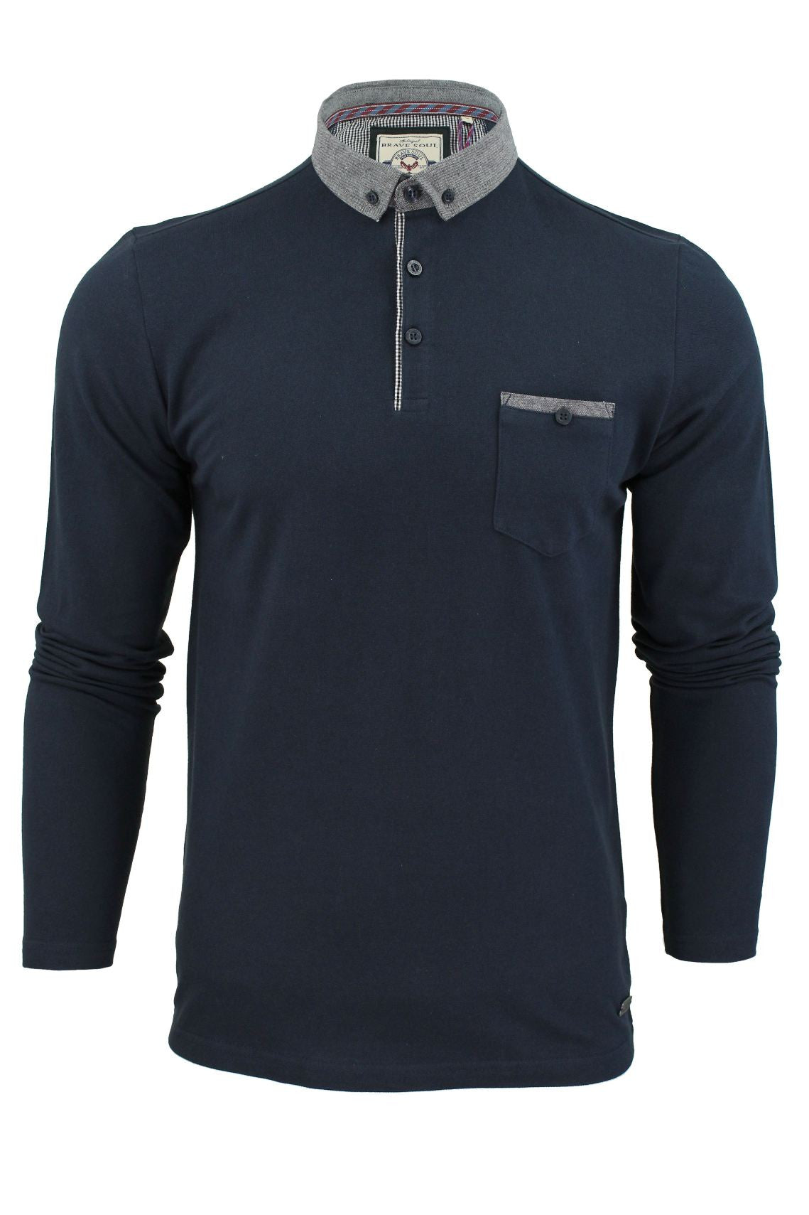 Mens Polo Shirt by Brave Soul 'Hera' Long Sleeved-2