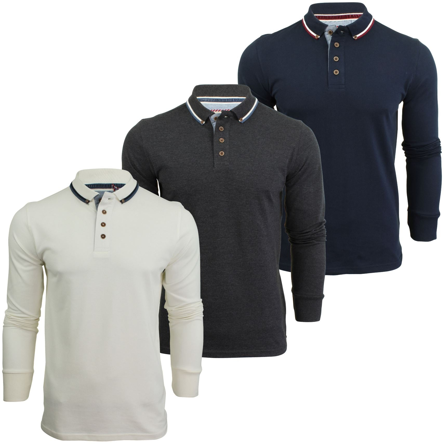 Mens Polo T-Shirt by Brave Soul 'Kennedy' Tipped Collar Long Sleeved-Main Image