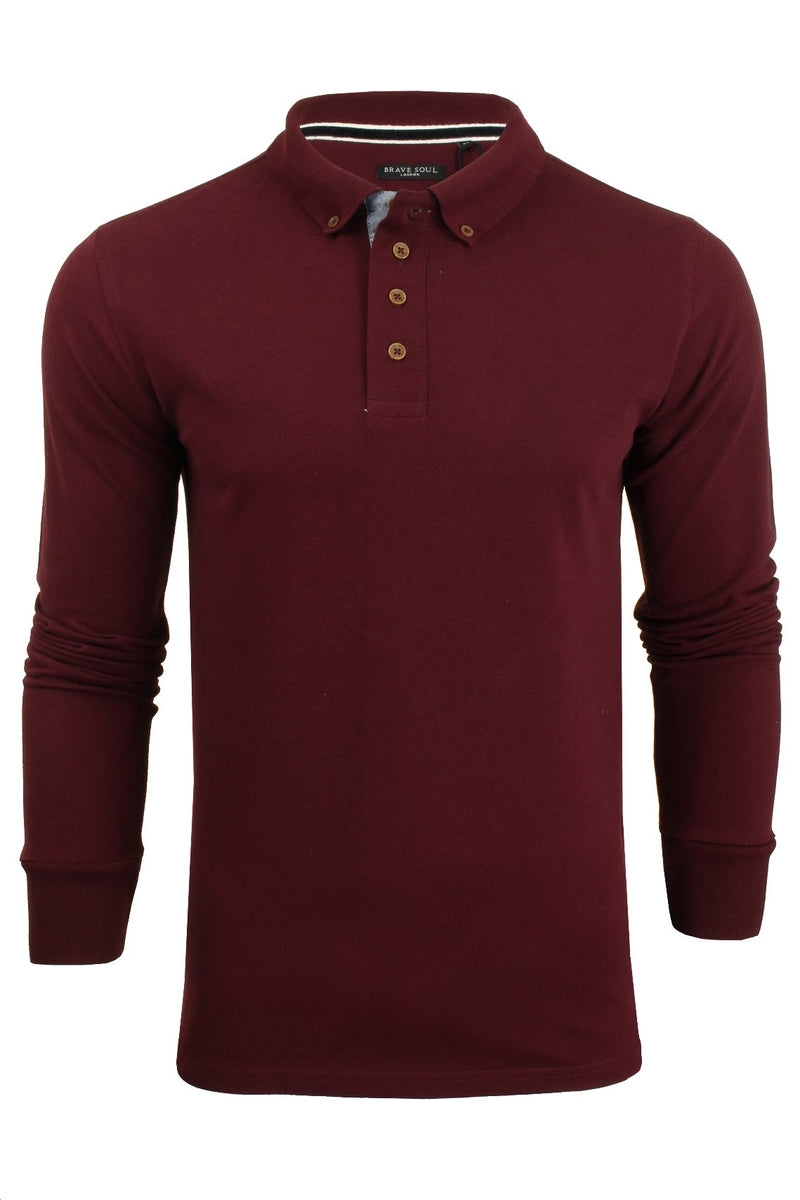 Mens Polo T-Shirt by Brave Soul 'Lincoln' Pique Long Sleeved, 01, Mlt-69Lincoln, #colour_Burgundy