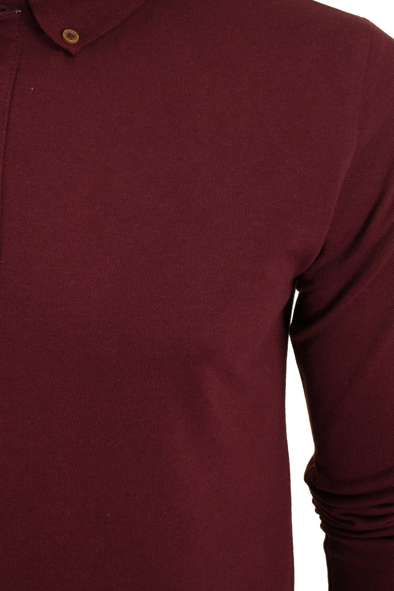 Mens Polo T-Shirt by Brave Soul 'Lincoln' Pique Long Sleeved, 02, Mlt-69Lincoln, #colour_Burgundy