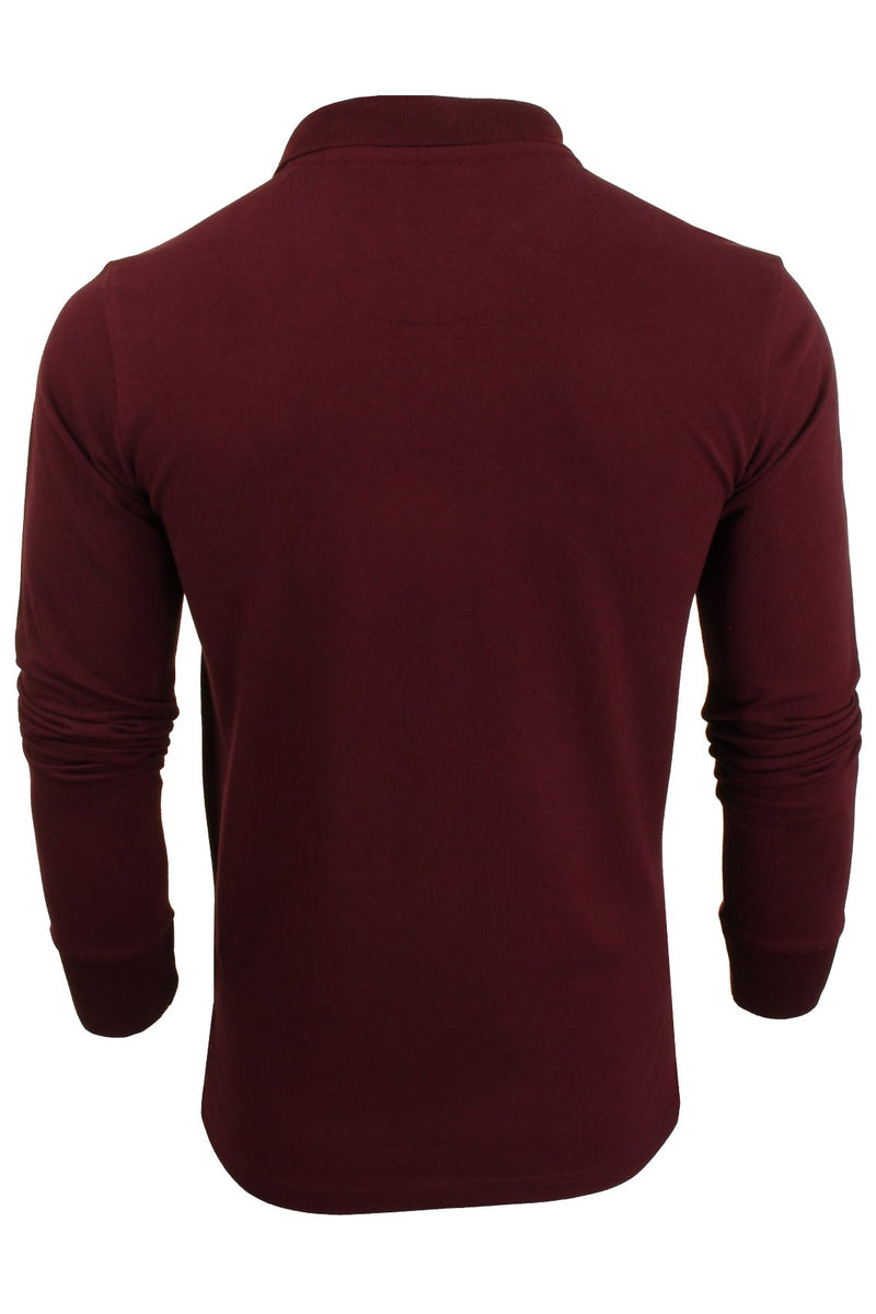 Mens Polo T-Shirt by Brave Soul 'Lincoln' Pique Long Sleeved, 03, Mlt-69Lincoln, #colour_Burgundy