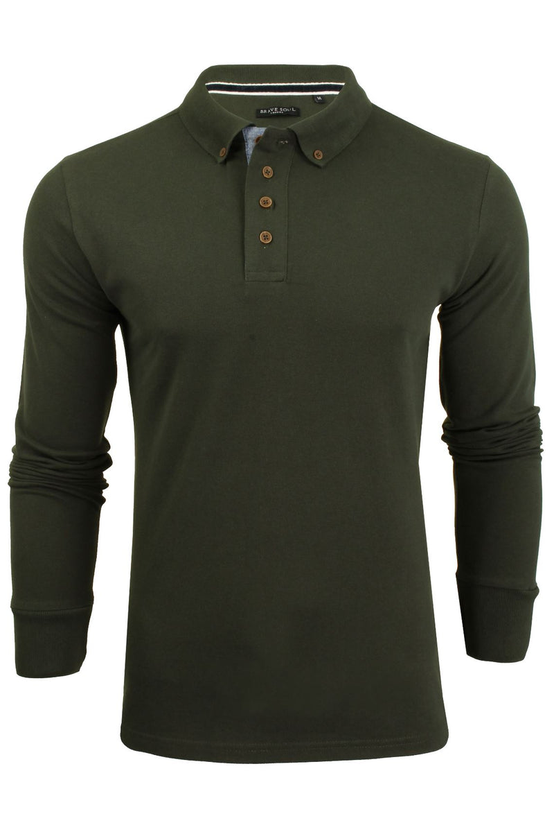 Mens Polo T-Shirt by Brave Soul 'Lincoln' Pique Long Sleeved, 01, Mlt-69Lincoln, #colour_Khaki/ Dk Navy