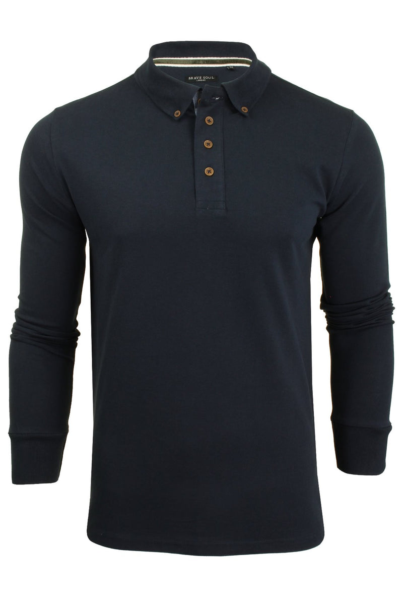 Mens Polo T-Shirt by Brave Soul 'Lincoln' Pique Long Sleeved, 01, Mlt-69Lincoln, #colour_Dark Navy/ Khaki