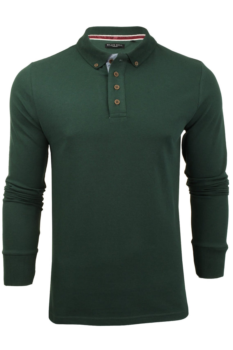 Mens Polo T-Shirt by Brave Soul 'Lincoln' Pique Long Sleeved, 01, Mlt-69Lincoln, #colour_Bottle Green