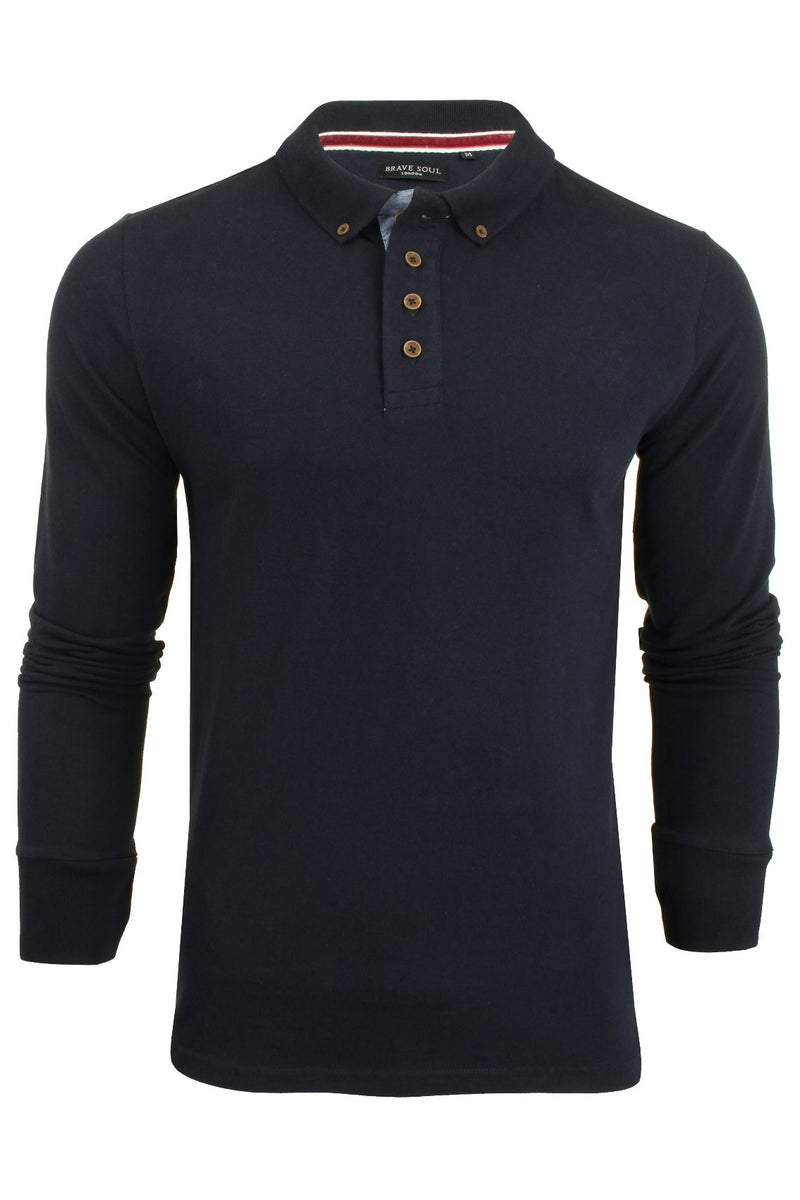 Mens Polo T-Shirt by Brave Soul 'Lincoln' Pique Long Sleeved, 01, Mlt-69Lincoln, #colour_Rich Navy