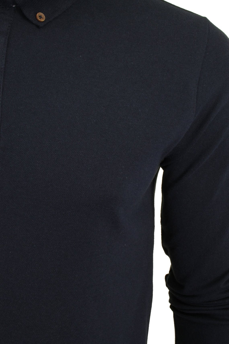 Mens Polo T-Shirt by Brave Soul 'Lincoln' Pique Long Sleeved, 02, Mlt-69Lincoln, #colour_Rich Navy