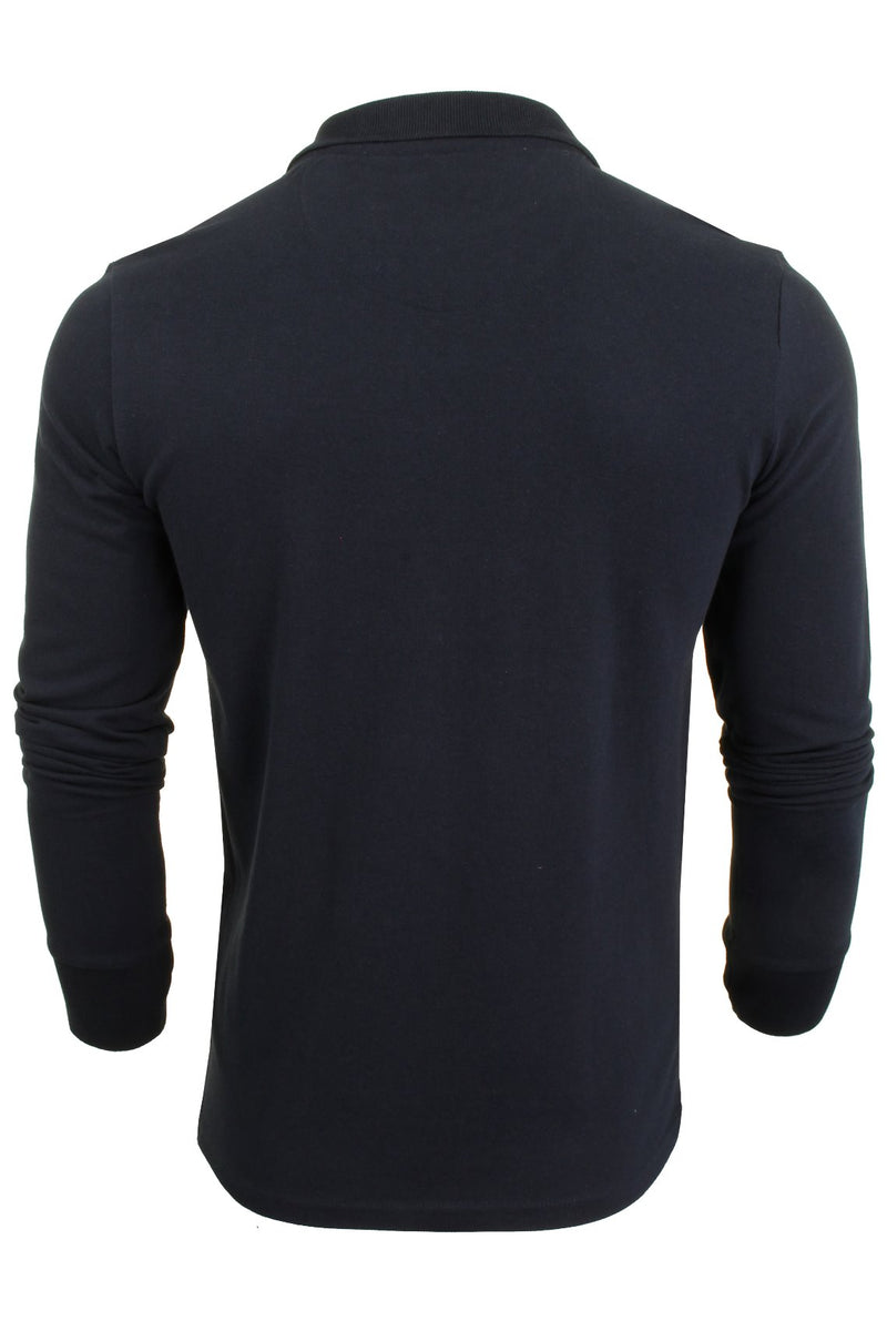 Mens Polo T-Shirt by Brave Soul 'Lincoln' Pique Long Sleeved, 03, Mlt-69Lincoln, #colour_Rich Navy