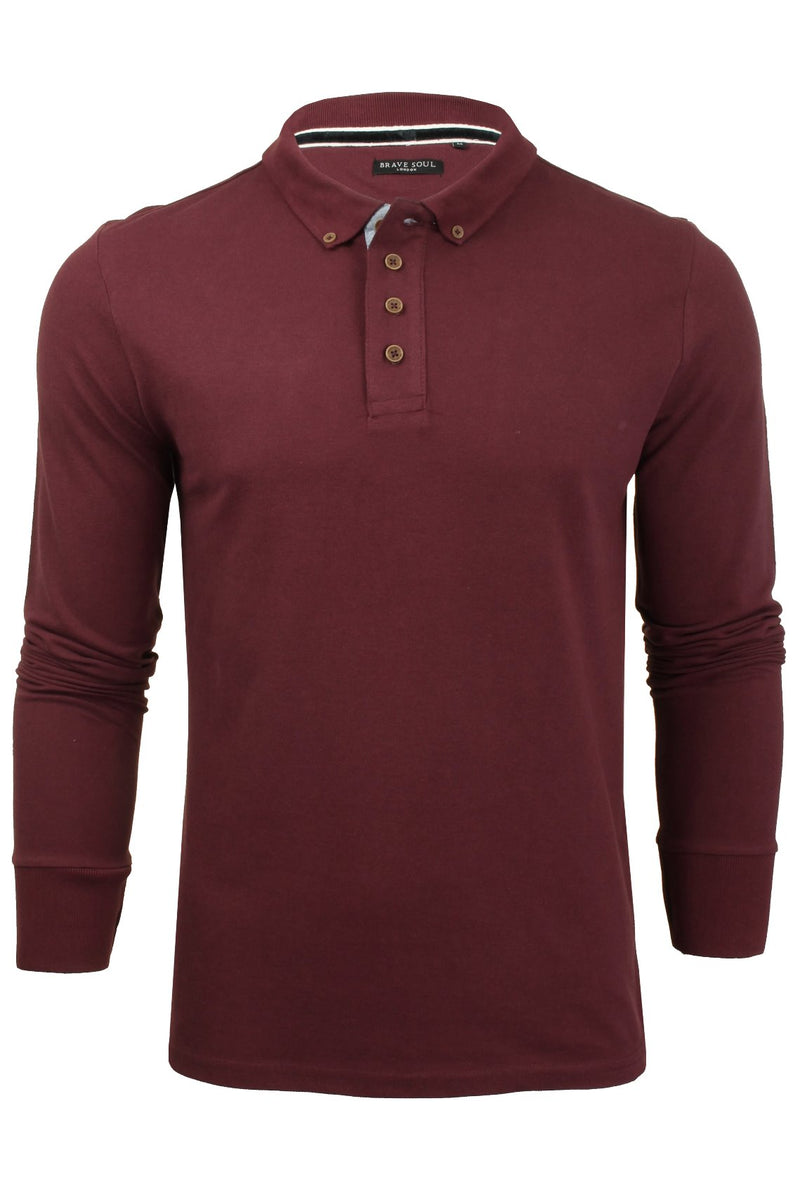 Mens Polo T-Shirt by Brave Soul 'Lincoln' Pique Long Sleeved, 01, Mlt-69Lincoln, #colour_Ruby Wine/ Navy