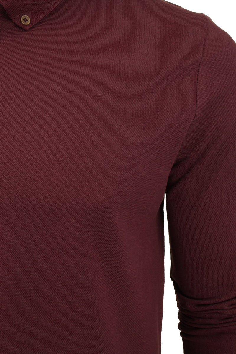 Mens Polo T-Shirt by Brave Soul 'Lincoln' Pique Long Sleeved, 02, Mlt-69Lincoln, #colour_Ruby Wine/ Navy