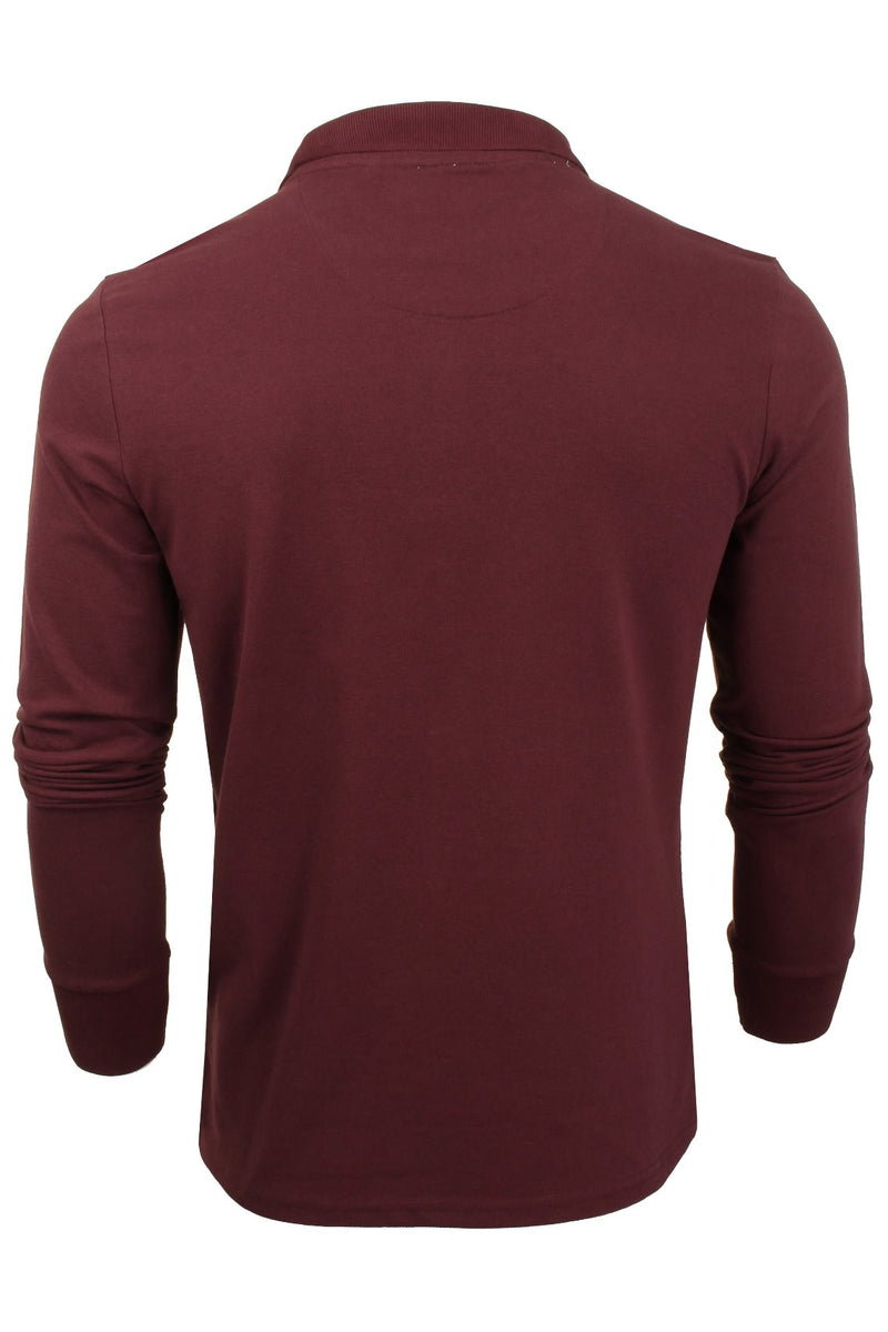 Mens Polo T-Shirt by Brave Soul 'Lincoln' Pique Long Sleeved, 03, Mlt-69Lincoln, #colour_Ruby Wine/ Navy