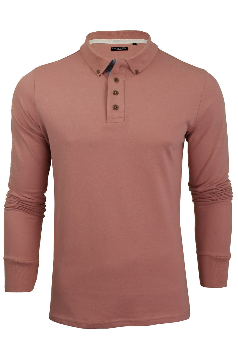 Mens Polo T-Shirt by Brave Soul 'Lincoln' Pique Long Sleeved, 01, Mlt-69Lincoln, #colour_Winter Pink