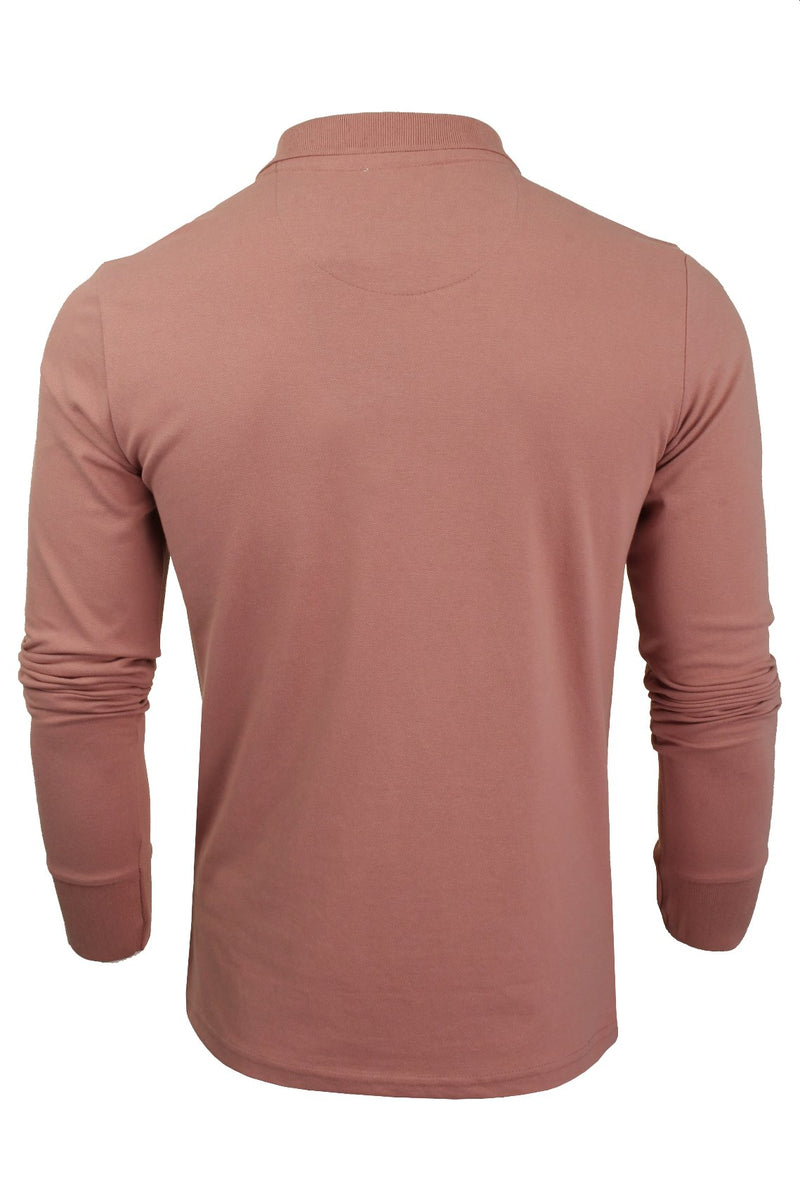 Mens Polo T-Shirt by Brave Soul 'Lincoln' Pique Long Sleeved, 03, Mlt-69Lincoln, #colour_Winter Pink