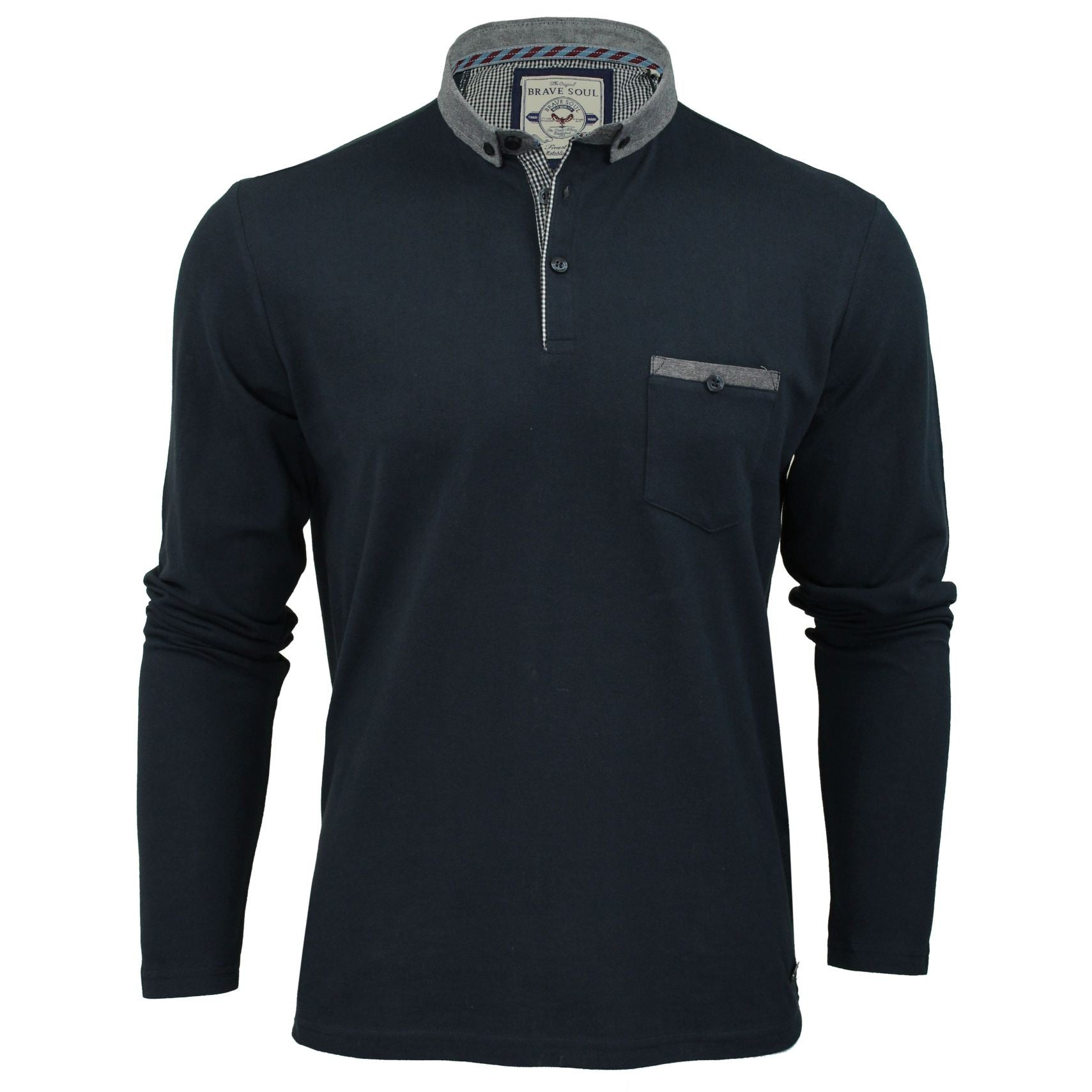 Mens Polo Shirt by Brave Soul 'Hera' Long Sleeved-Main Image