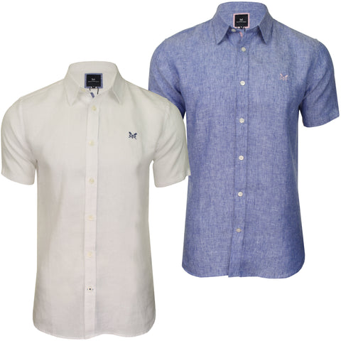 Crew Clothing Mens Linen Shirt 'Linen Shirt' - Short Sleeved-Main Image