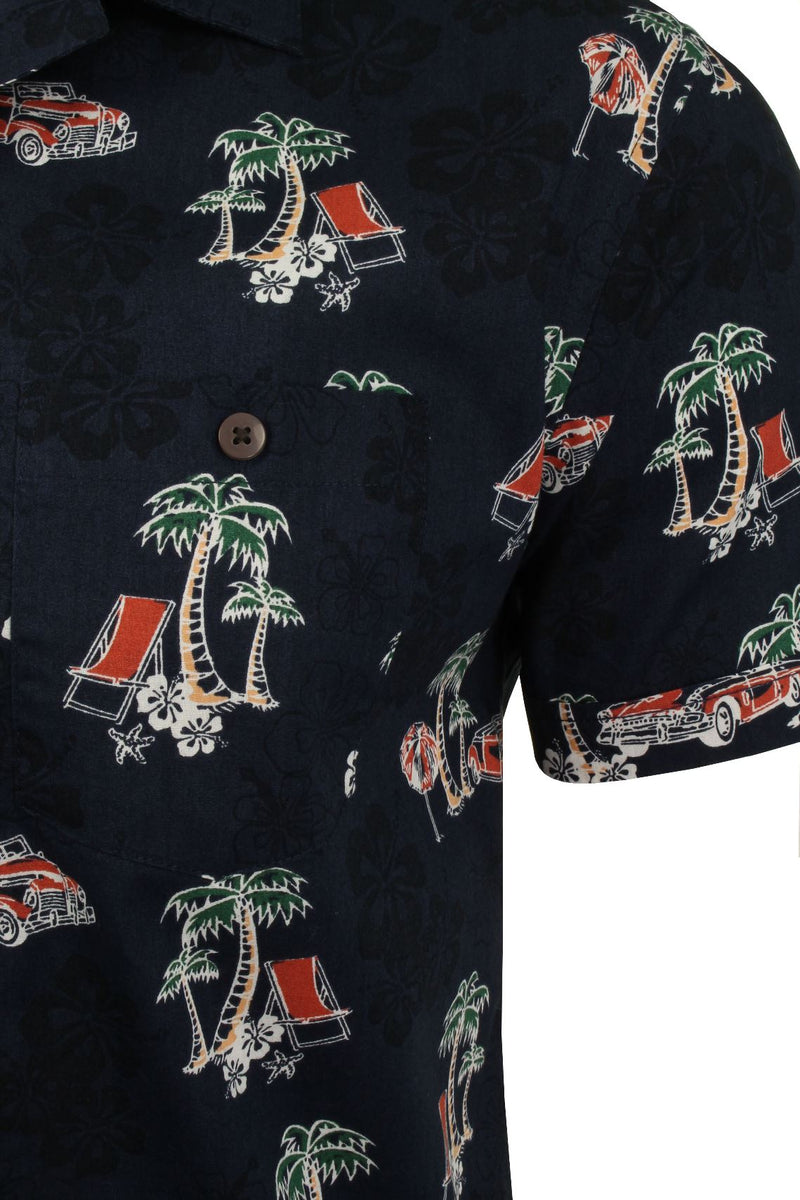 Mens Brave Soul Hawaiian Shirt - Short Sleeved, 02, Msh-273Lagos, #colour_Navy