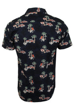 Mens Brave Soul Hawaiian Shirt - Short Sleeved, 03, Msh-273Lagos, #colour_Navy