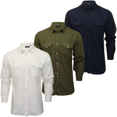 Brave Soul Mens Twin Pocket Long Sleeve Linen Mix Shirt-Main Image