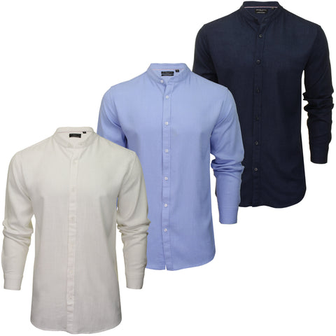 Brave Soul Mens Grandad Collar Shirt 'Langholm' - Long Sleeved-Main Image