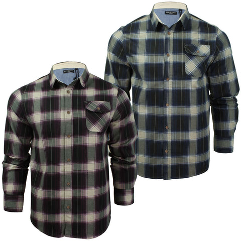 Mens Long Sleeved Brushed Check Shirt by Brave Soul-Main Image