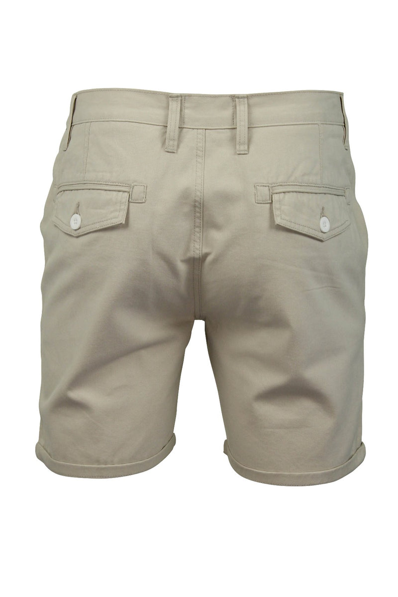 Mens Chino Short by Brave Soul 'Smith' Cotton Twill, 03, Msrt-Fern, #colour_Smith - Stone