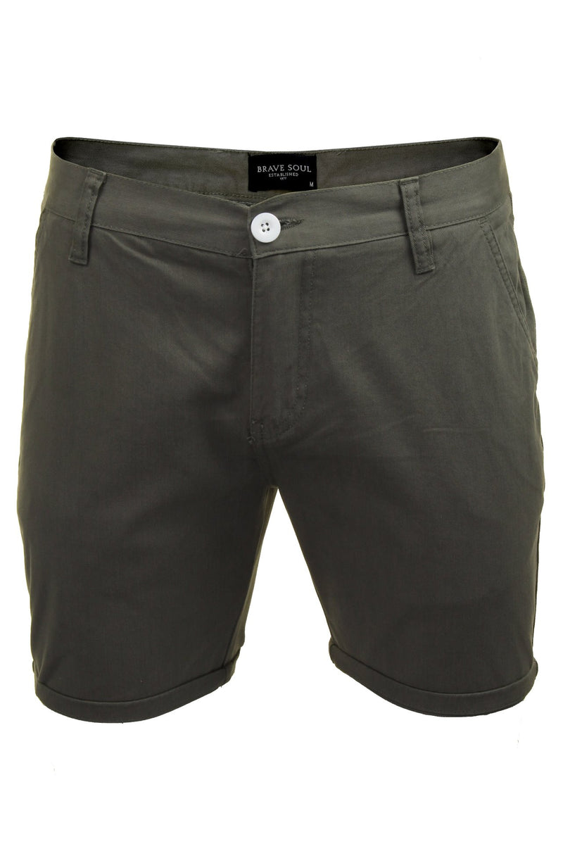 Mens Chino Short by Brave Soul 'Smith' Cotton Twill, 01, Msrt-Fern, #colour_Grey