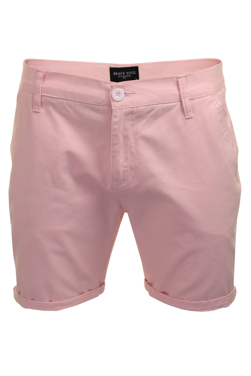 Mens Chino Short by Brave Soul 'Smith' Cotton Twill, 01, Msrt-Fern, #colour_Pink