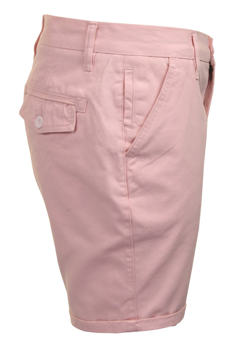 Mens Chino Short by Brave Soul 'Smith' Cotton Twill, 02, Msrt-Fern, #colour_Pink