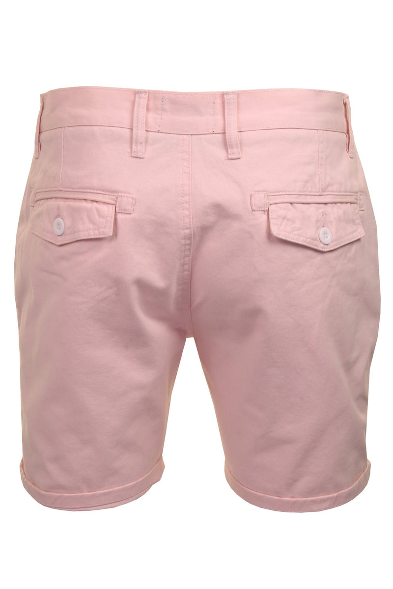 Mens Chino Short by Brave Soul 'Smith' Cotton Twill, 03, Msrt-Fern, #colour_Pink