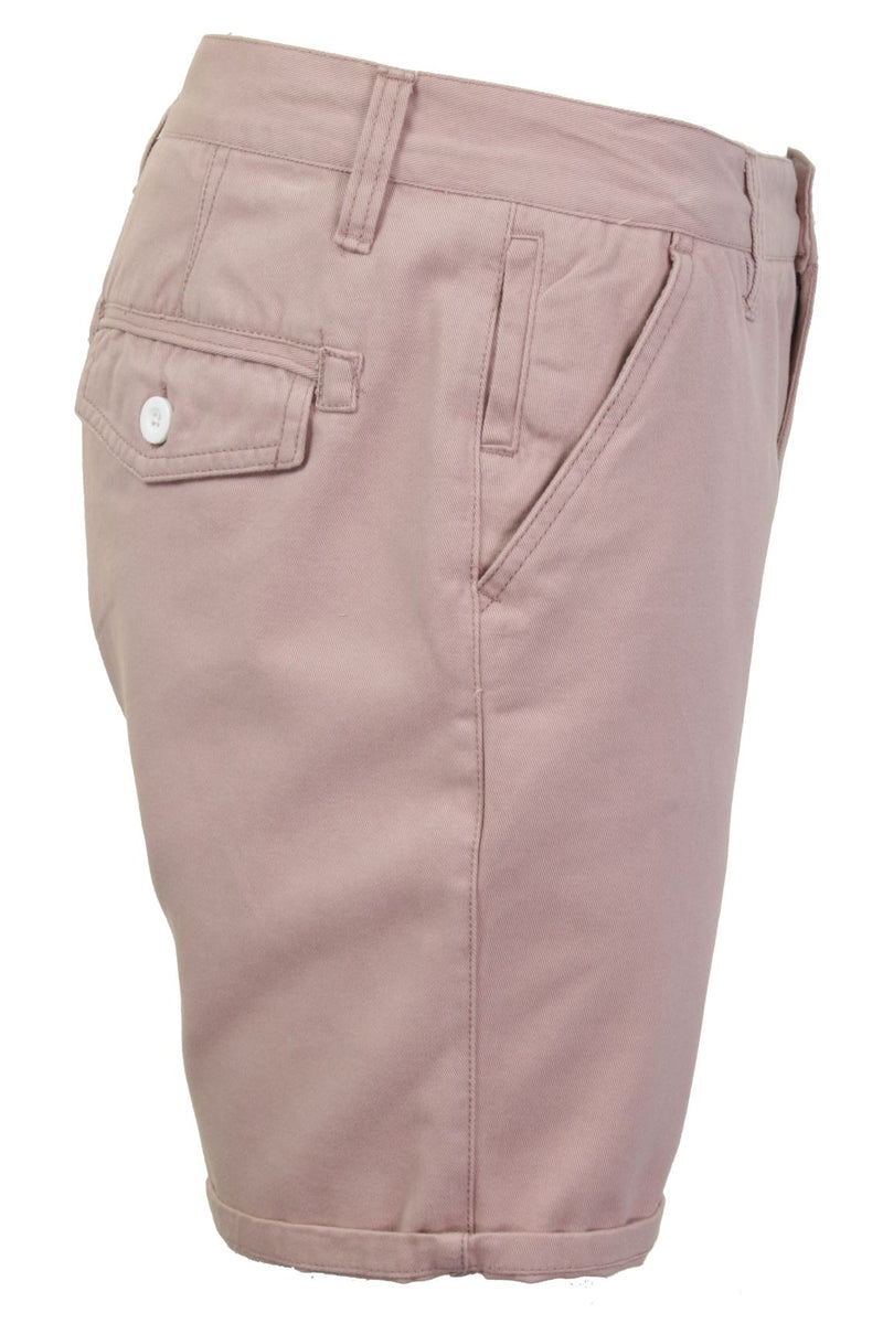 Mens Chino Short by Brave Soul 'Smith' Cotton Twill, 02, Msrt-Fern, #colour_Smith - Pink