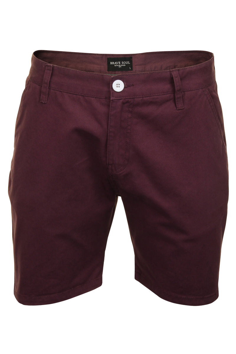 Mens Chino Short by Brave Soul 'Smith' Cotton Twill, 01, Msrt-Fern, #colour_Plum
