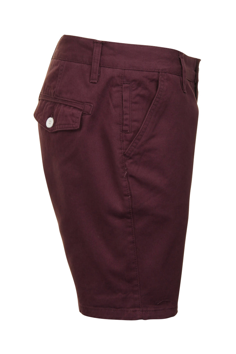 Mens Chino Short by Brave Soul 'Smith' Cotton Twill, 02, Msrt-Fern, #colour_Plum