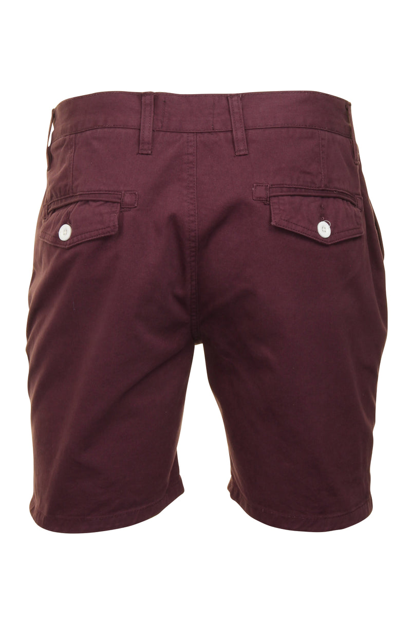 Mens Chino Short by Brave Soul 'Smith' Cotton Twill, 03, Msrt-Fern, #colour_Plum