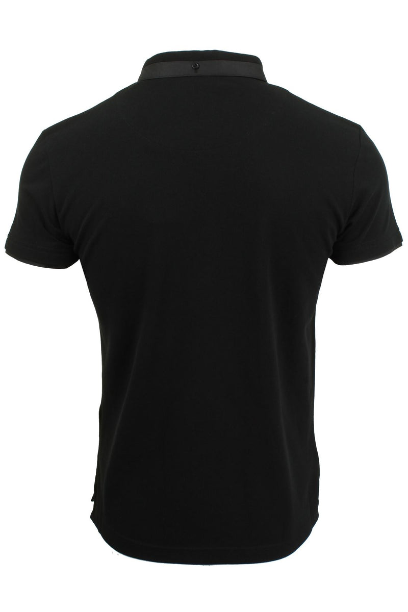 Mens Short Sleeved Polo Shirt from the Blackout Collection by Voi Jeans, 03, Dubb, #colour_Mullen - Black