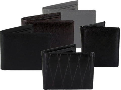 Mens Quality Leather Cow Hide Wallets - In Gift Box - Black, Brown Or Grey-Main Image
