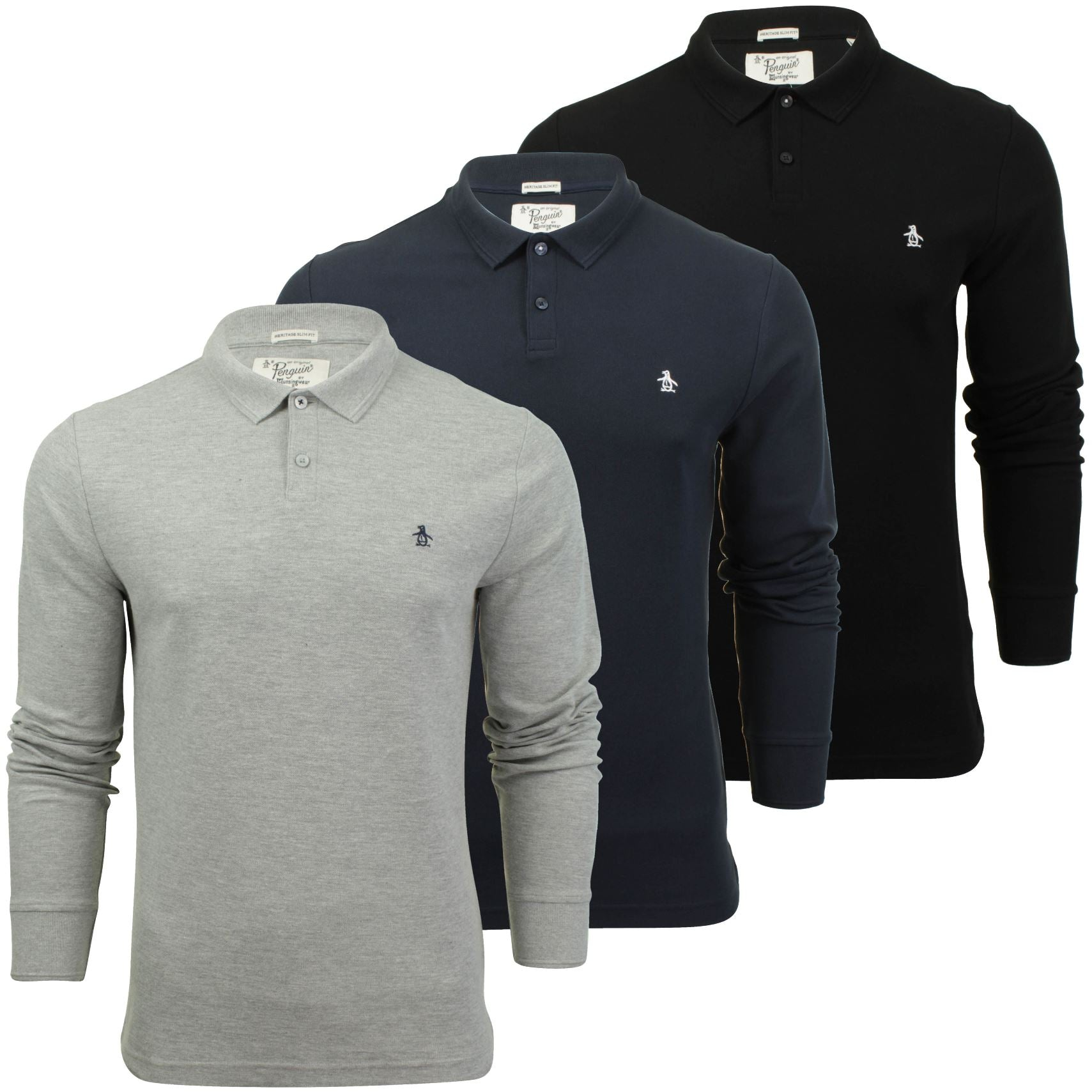 Mens Polo T-Shirt by Original Penguin 'Winston' Long Sleeved-Main Image