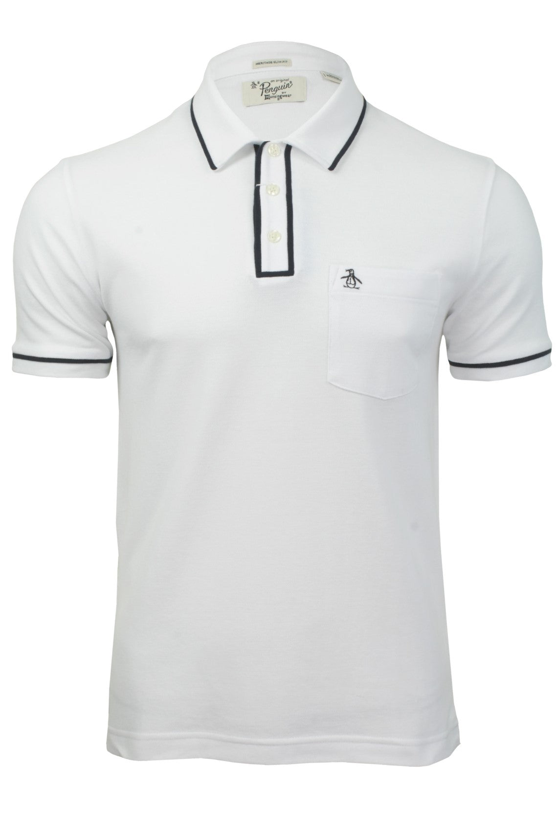Mens Polo T-Shirt by Original Penguin 'Earl' Short Sleeved_01_Opkf3204_Bright White/ Sapphire