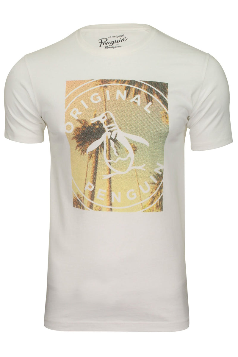 Original Penguin Mens T-Shirt 'Palm Tree Print Logo', 01, Opks0706, #colour_Bright White