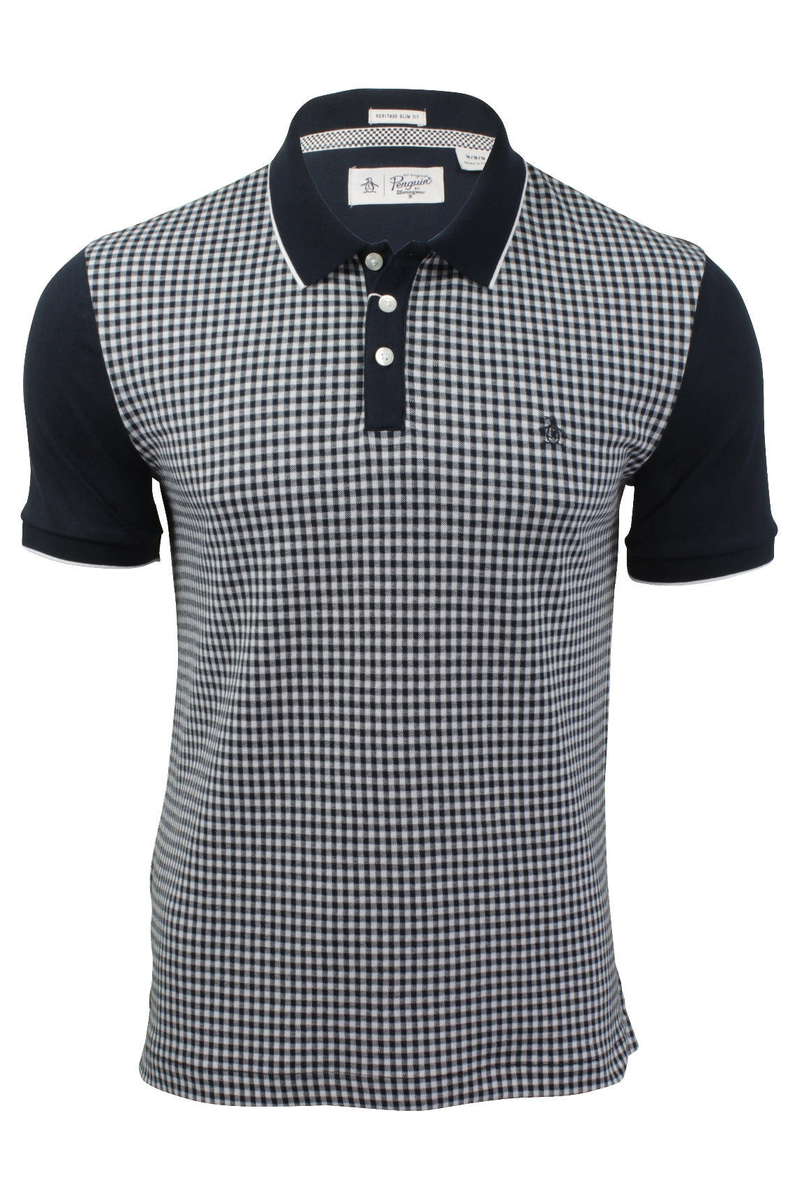 Mens Jacquard Gingham Check Polo T-Shirt by Original Penguin-Main Image