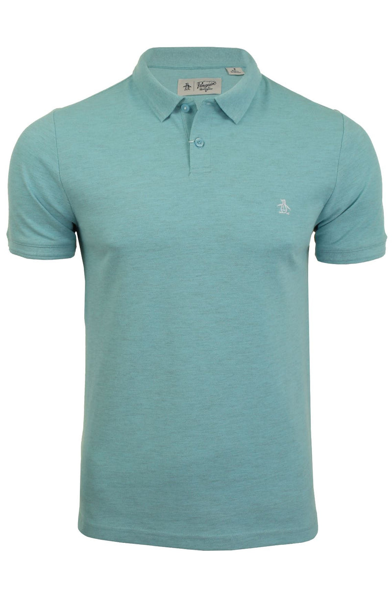 Mens Original Penguin Pique Polo T-Shirt - Short Sleeved, 01, Opkb0557, #colour_Blue Topaz Heather